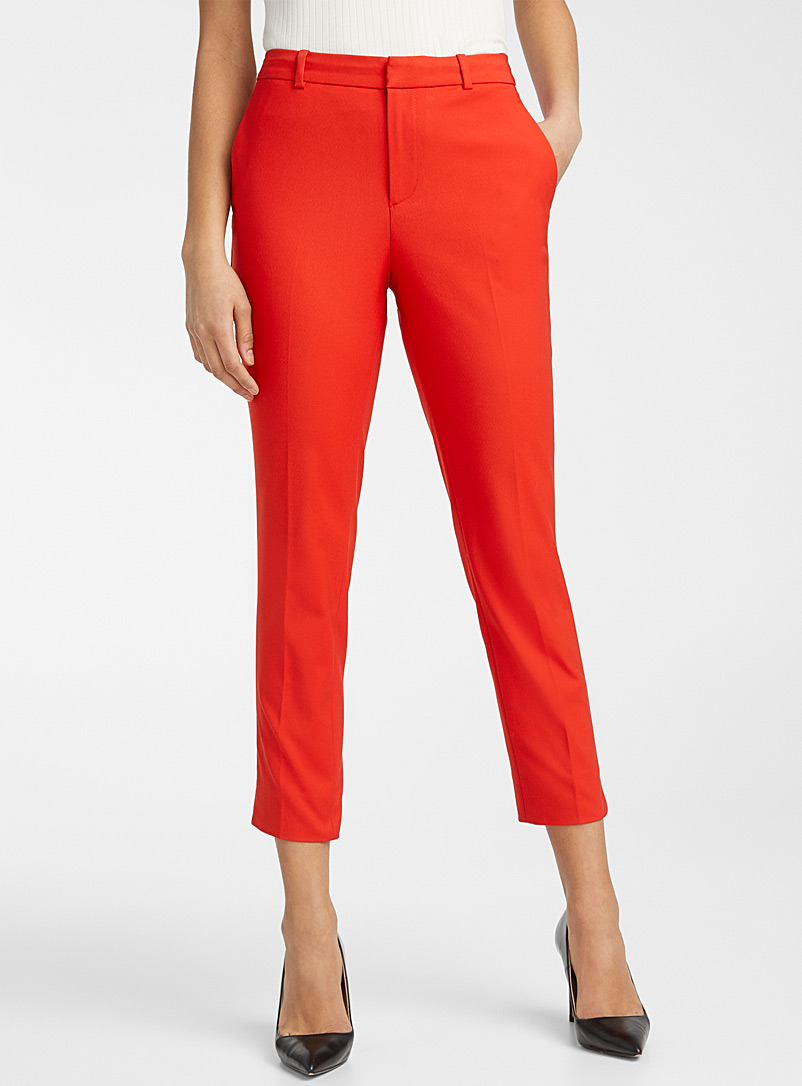 Contemporaine Bright Red Structured semi-slim pant for women