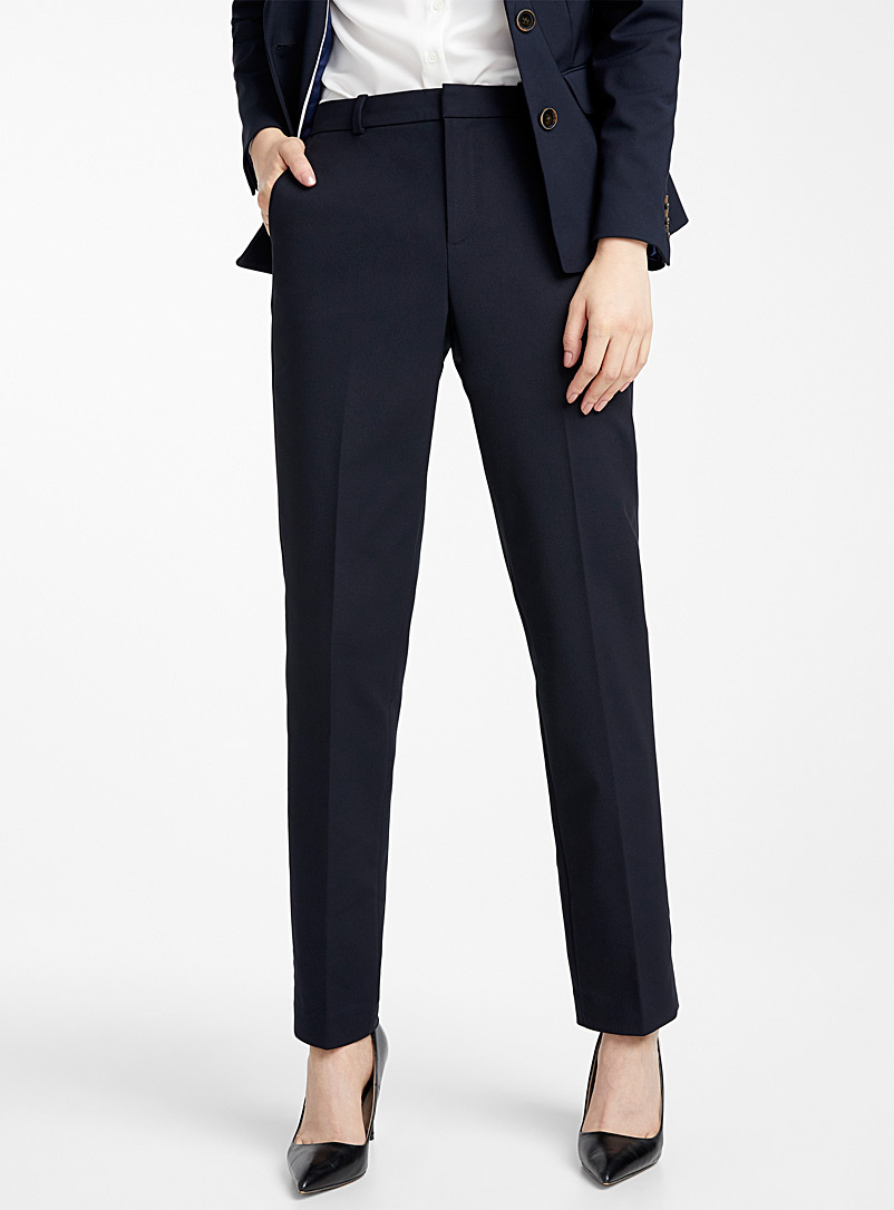 Contemporaine Marine Blue Straight structured pant for women