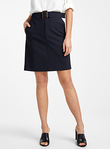 Contemporaine Marine Blue Belted structured skirt for women