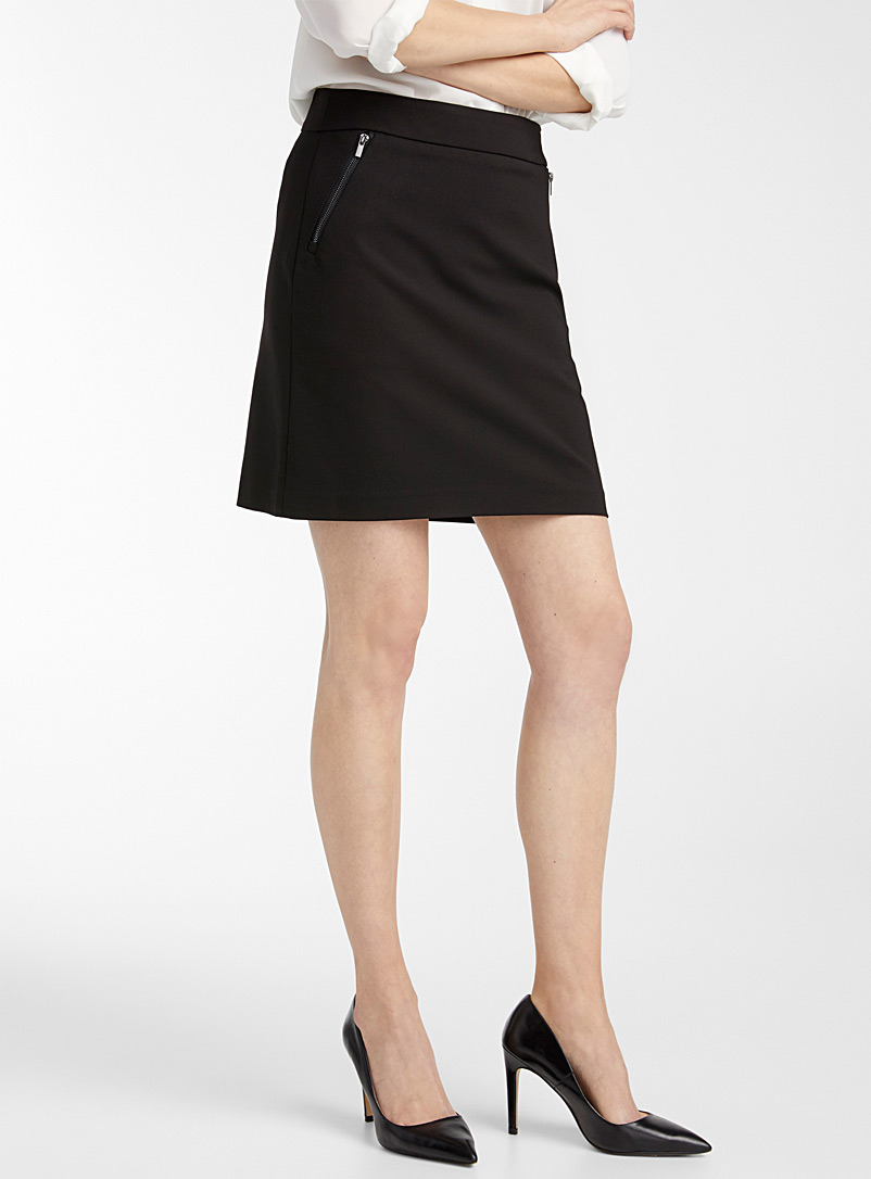 Contemporaine Black Accent zip structured skort for women