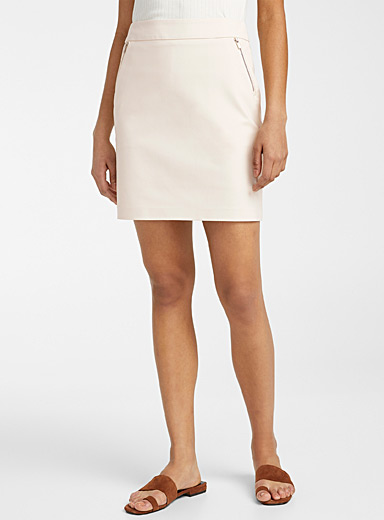 Contemporaine Cream Beige Accent zip structured skort for women