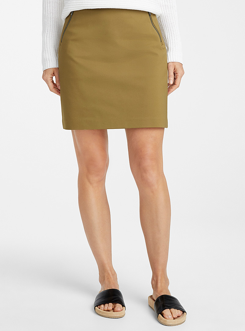 Contemporaine Mossy Green Accent zip structured skort for women