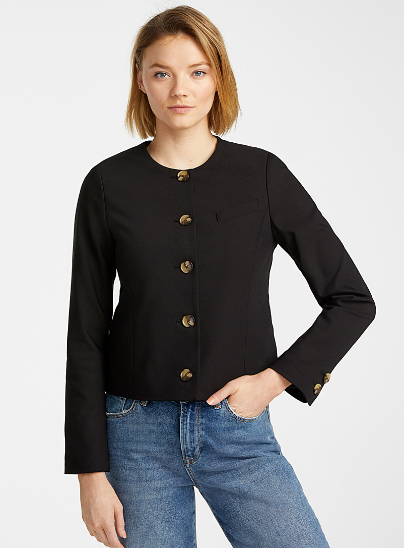 Contemporaine Black Buttoned structured jacket for women