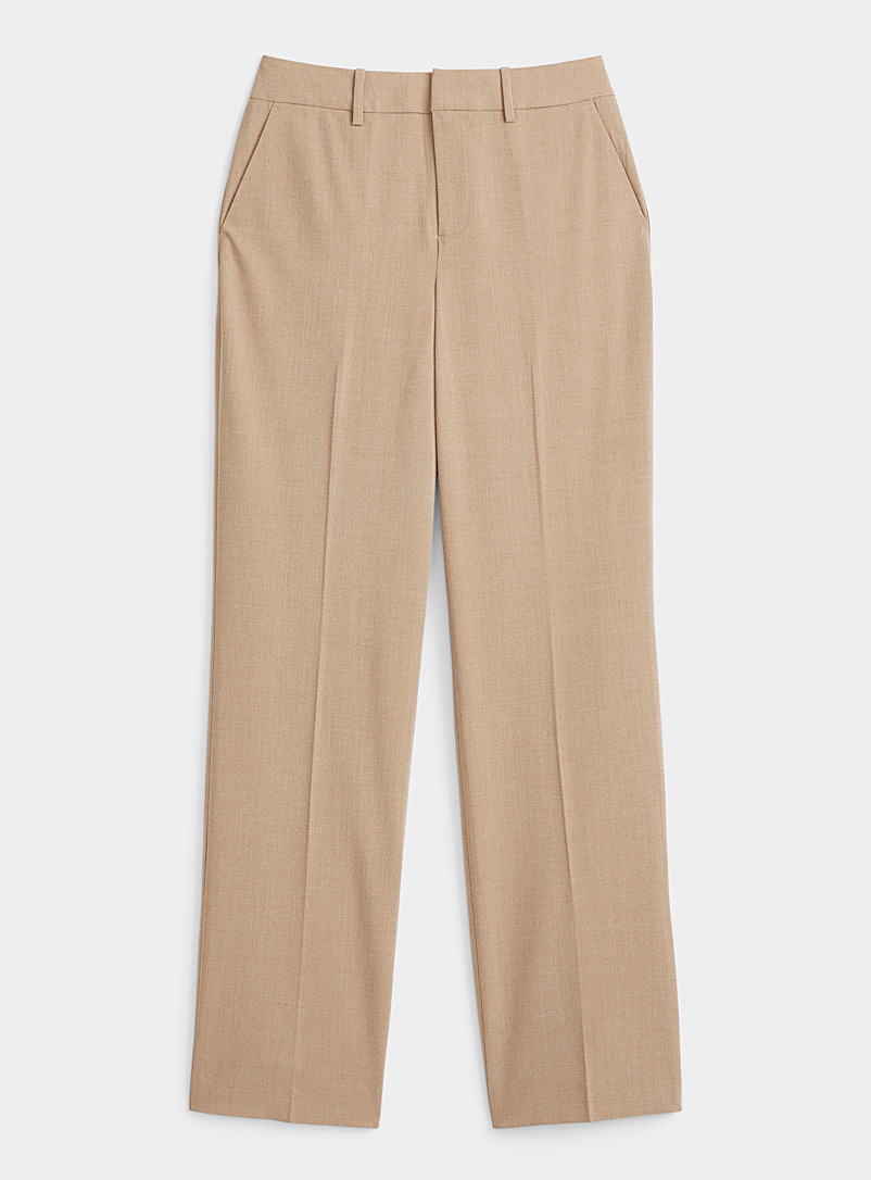 Contemporaine Light Brown Finely woven straight pant for women