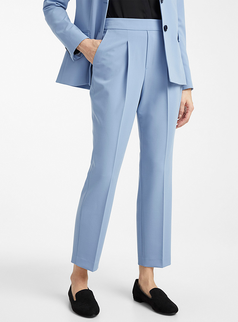Contemporaine Baby Blue Career pleated pant for women