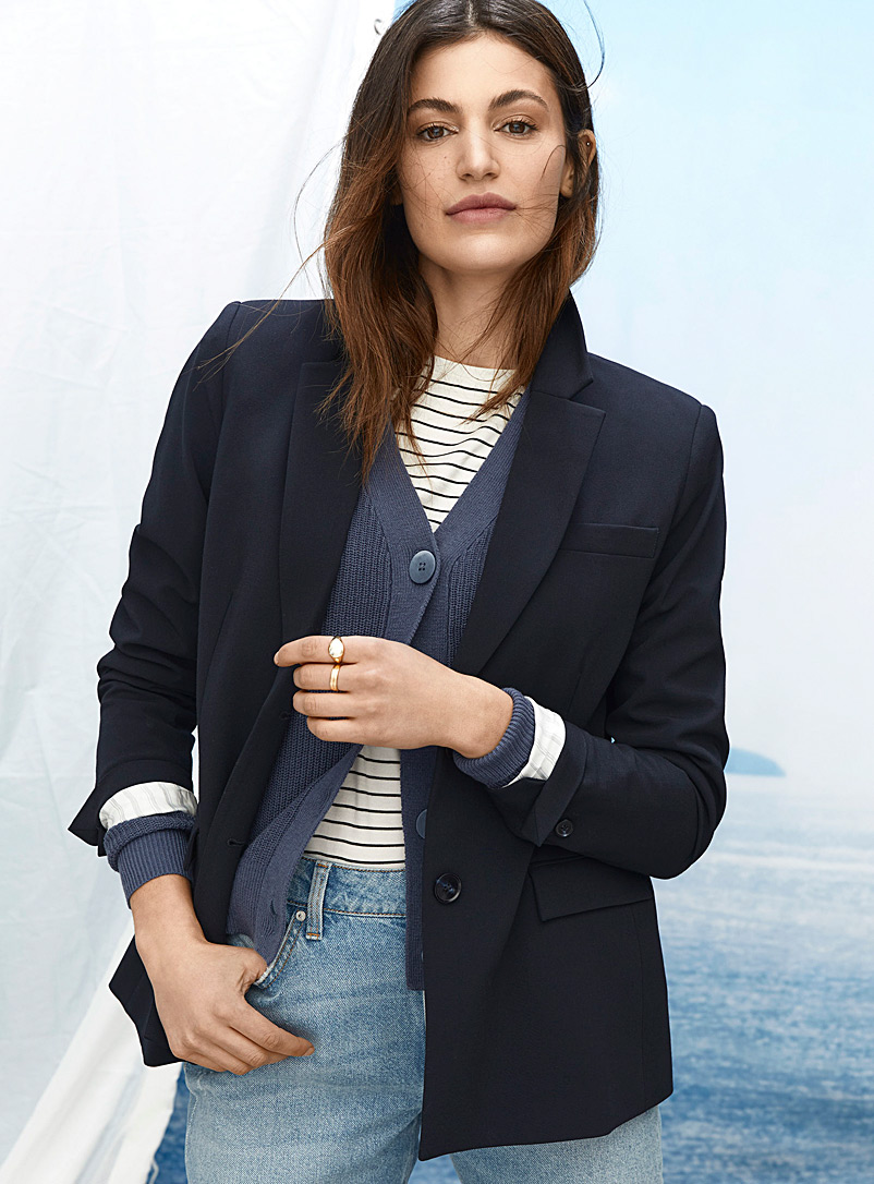 Contemporaine Dark Blue Fine weave two-button blazer for women