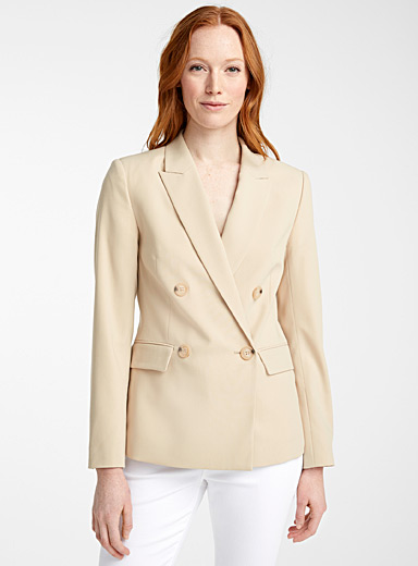 Contemporaine Sand Double-breasted career jacket for women