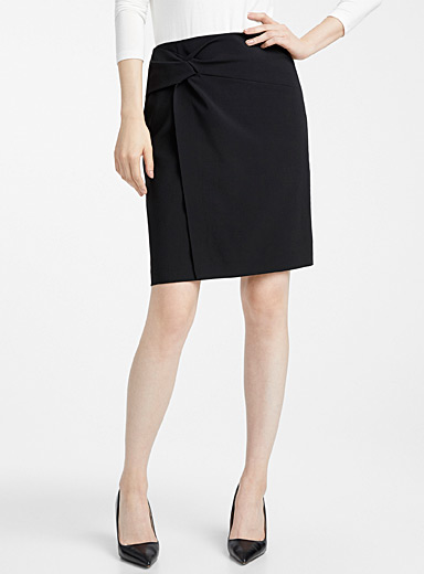 Draped waist career skirt