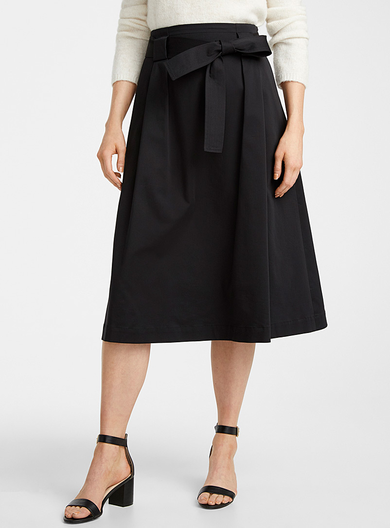 Contemporaine Black Cotton sateen belted midi skirt for women