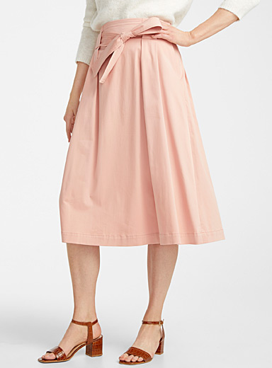 Contemporaine Dusky Pink Cotton sateen belted midi skirt for women