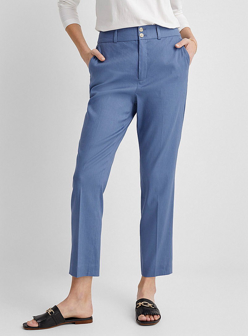 Contemporaine Slate Blue Stretch linen ankle pant for women