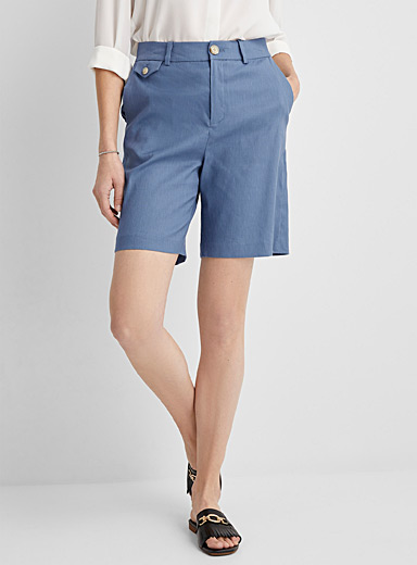Stretch straight linen short