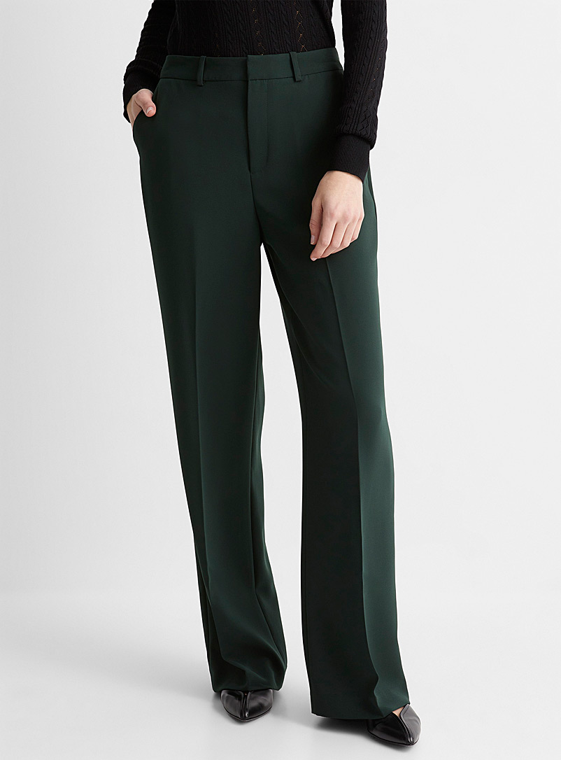 Contemporaine Mossy Green Fluid wide-leg pant for women