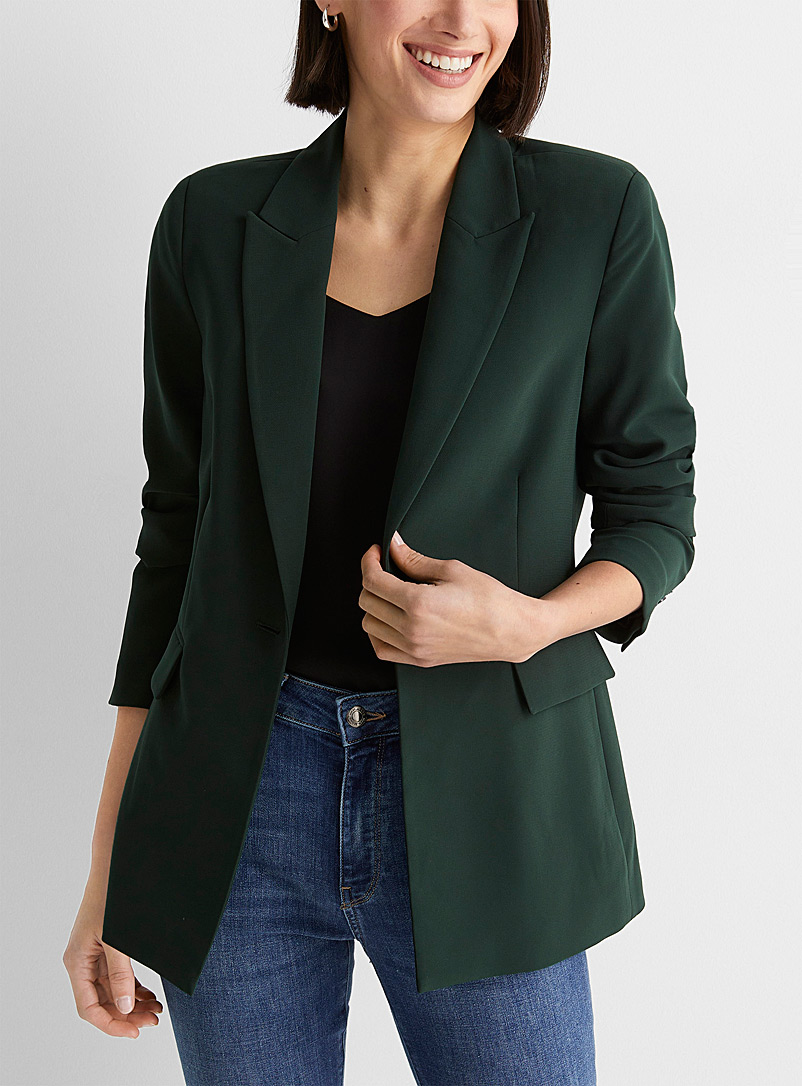 Contemporaine Mossy Green Fluid single-button blazer for women