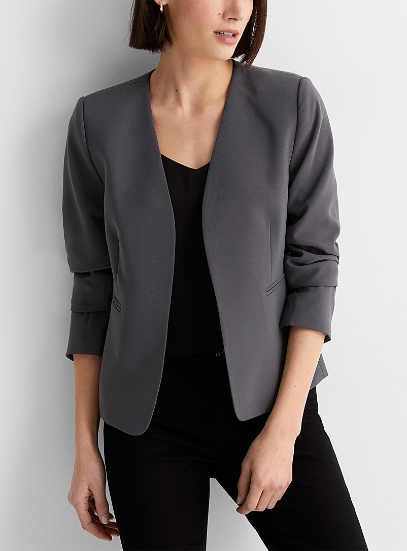 Contemporaine Dark Grey Fluid lapel-free blazer for women