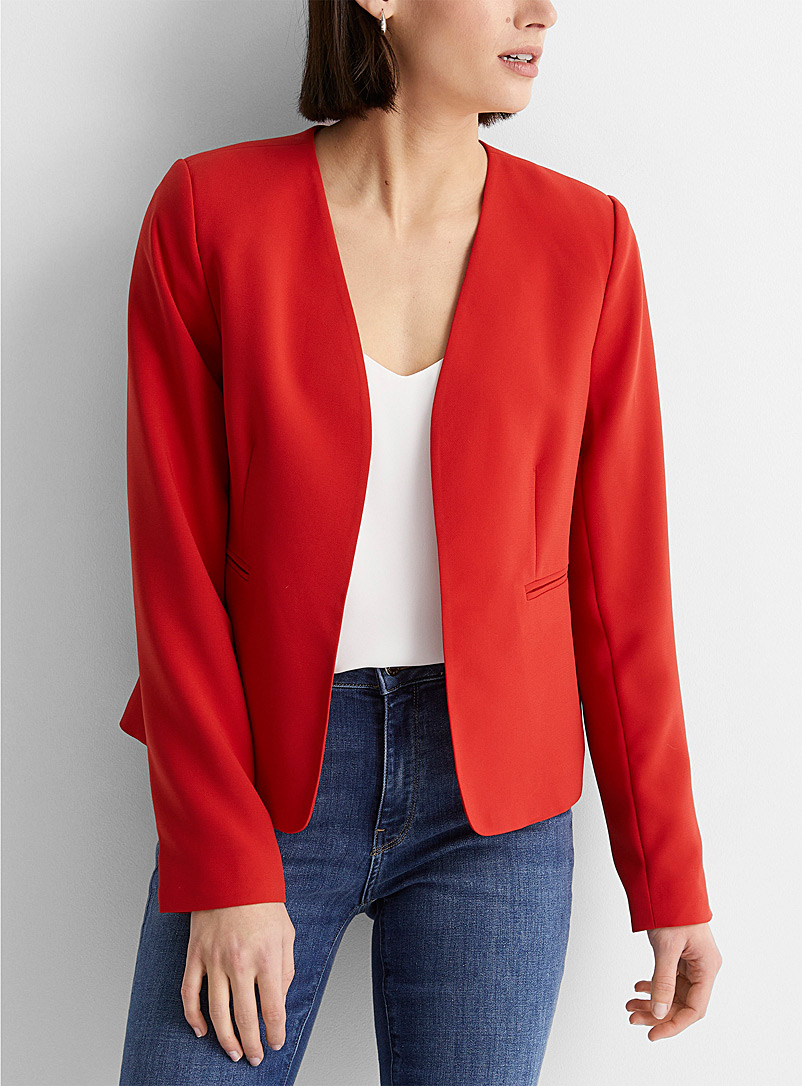 Contemporaine Bright Red Fluid lapel-free blazer for women