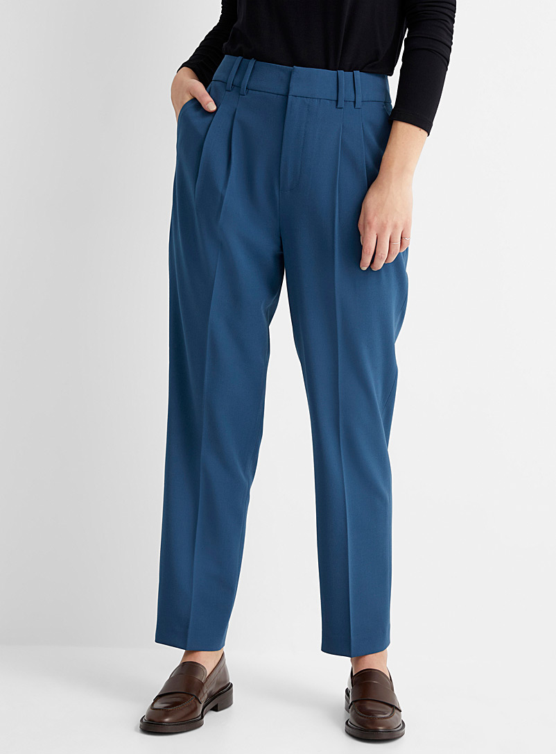 Contemporaine Teal Elastic waist career pant for women