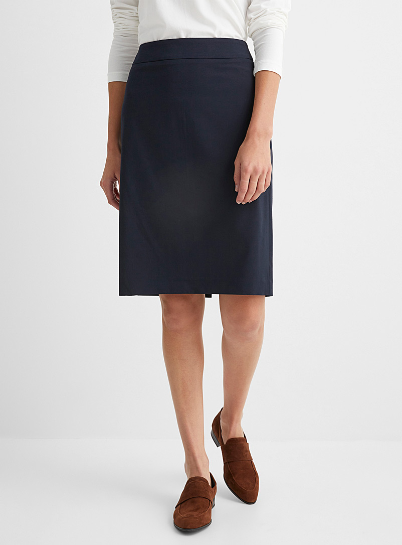 Contemporaine Grey Finely woven straight skirt for women