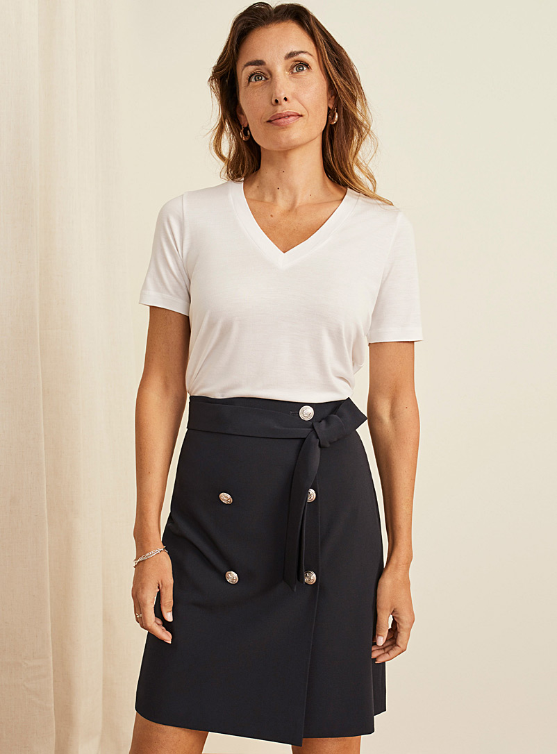 Contemporaine Dark Blue Double-breasted belted skirt for women