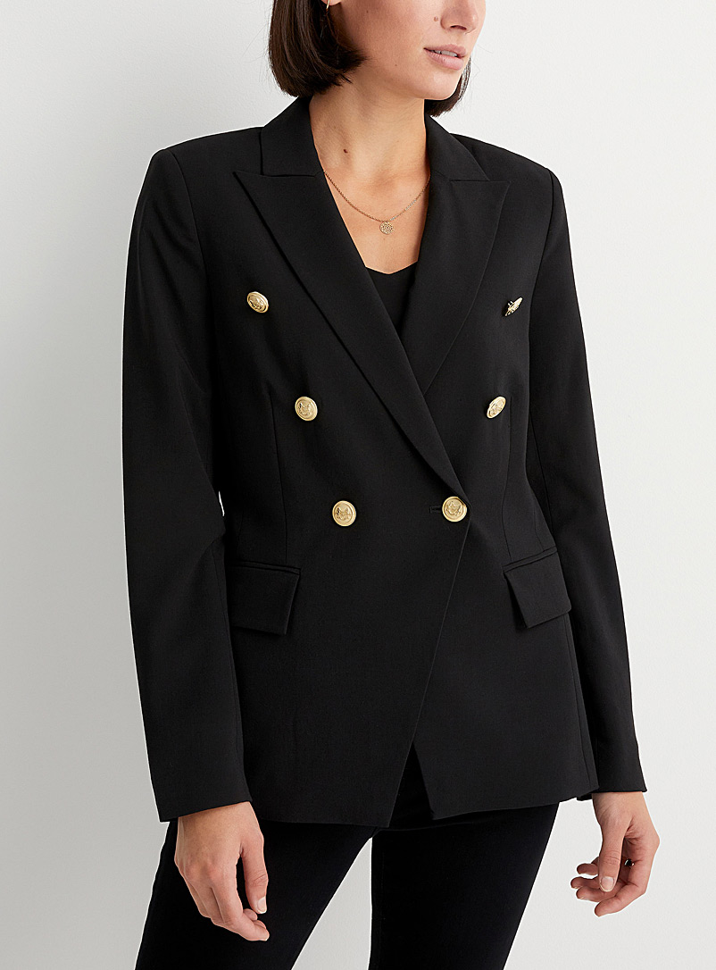 Metallic-button double-breasted blazer
