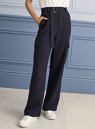 Contemporaine Dark Blue Techno crepe wide-leg cargo pant for women