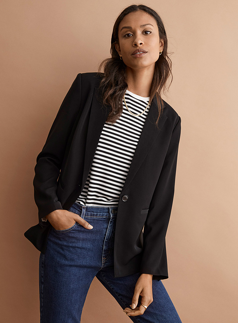 Techno crepe single-button blazer