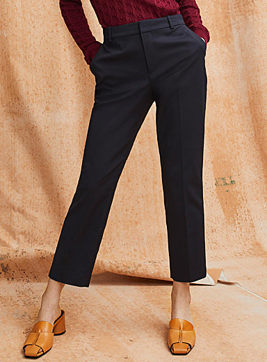 Contemporaine Dark Blue Structured semi-slim pant for women