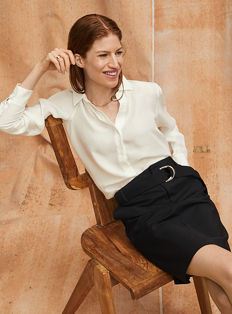 Contemporaine Black Belted structured skirt for women