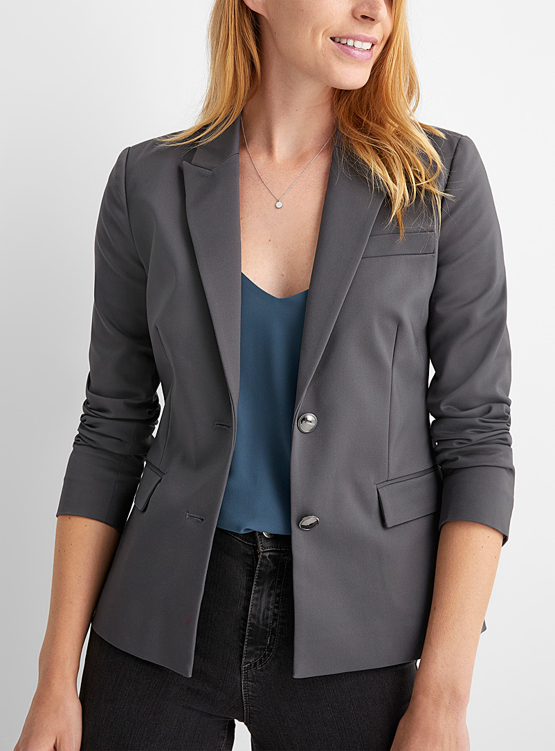 Contemporaine Dark Grey Structured metallic-button blazer for women