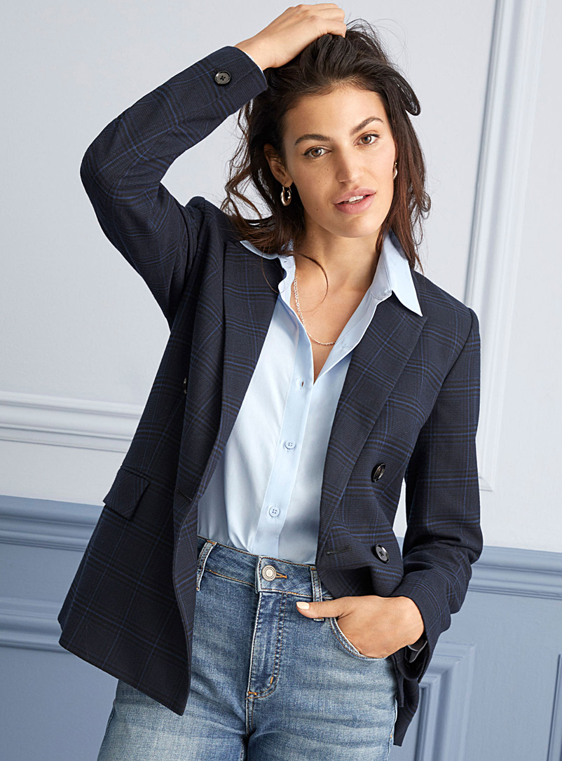 Contemporaine Patterned Blue Navy check double-breasted blazer for women