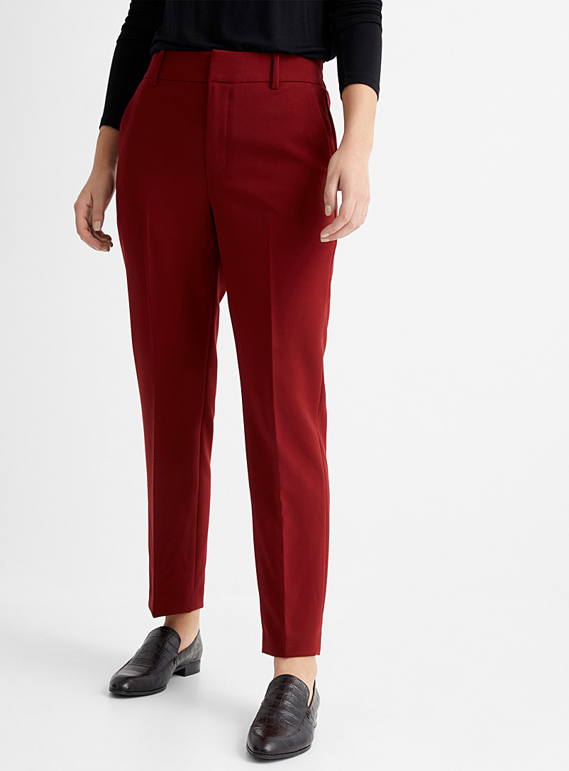 Contemporaine Ruby Red Semi-slim elastic-waist pant for women