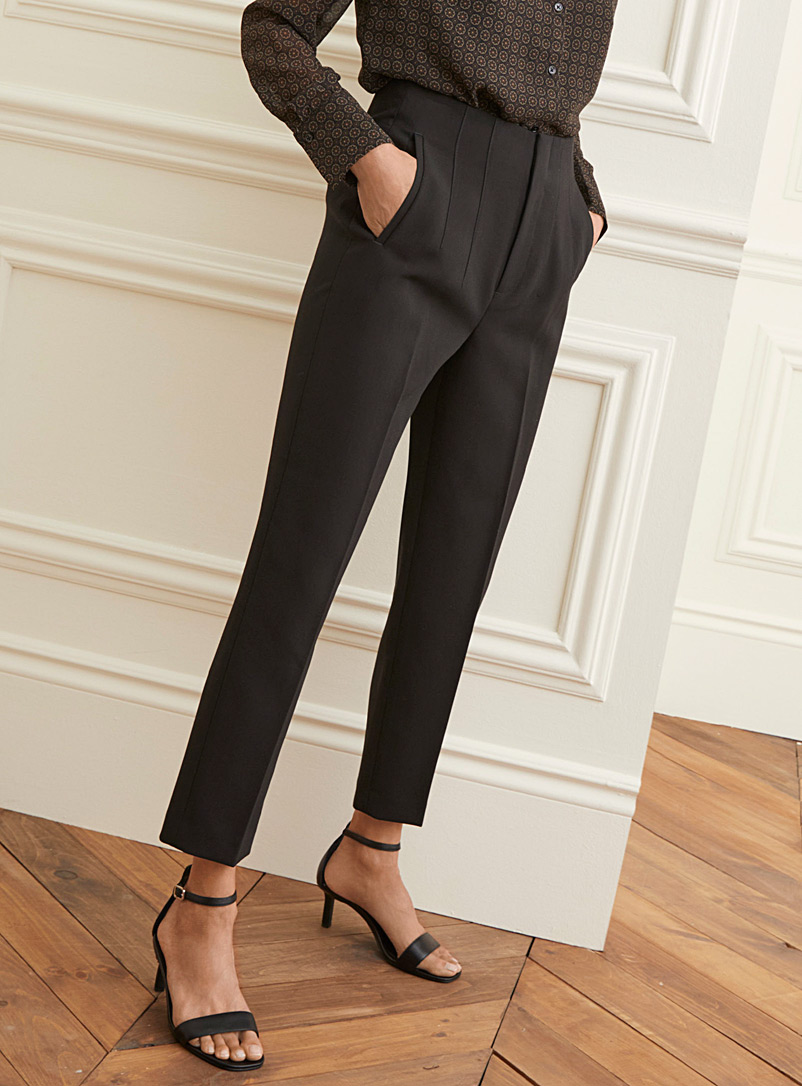 Contemporaine Black High-waisted ankle-length pant for women