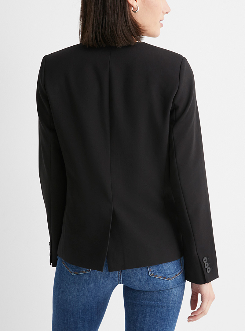 Contemporaine Black Single button lapel-free blazer for women