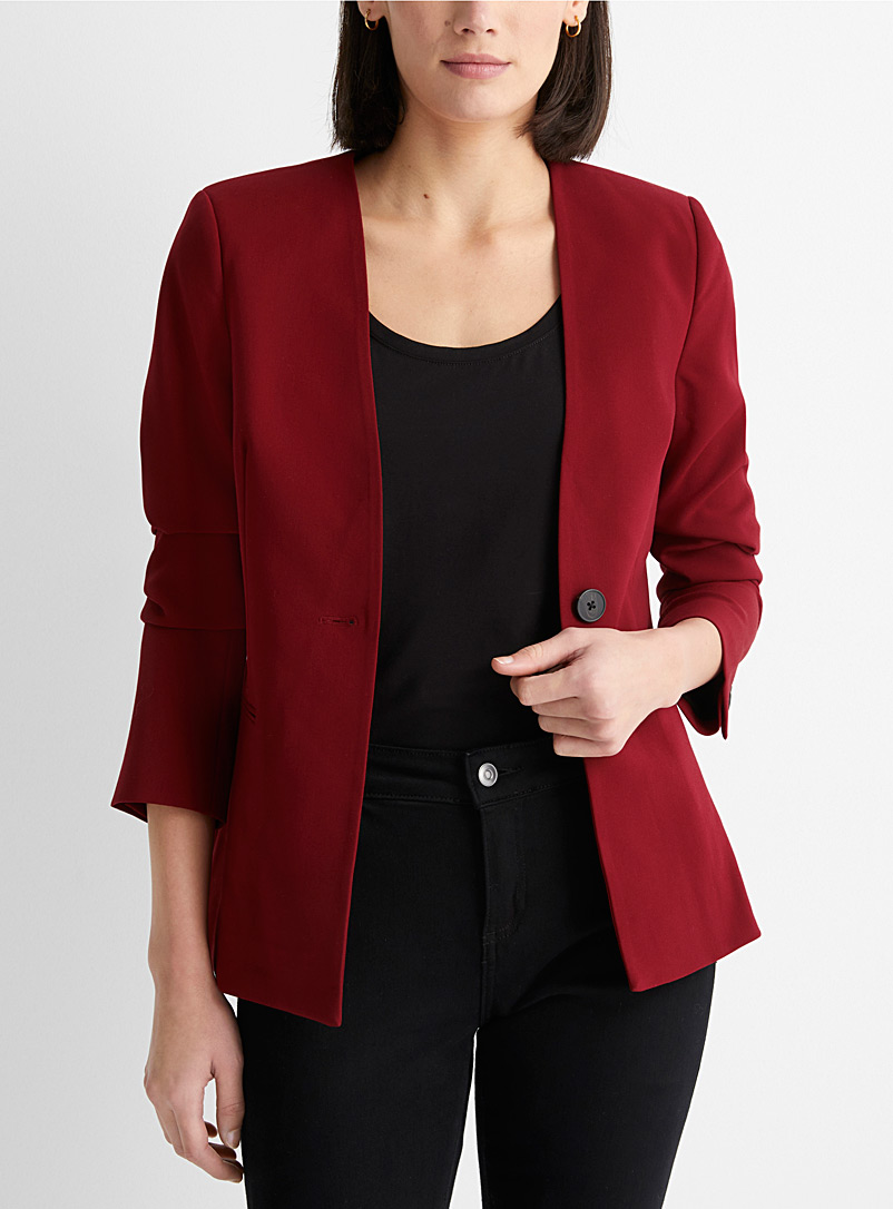 Contemporaine Ruby Red Single button lapel-free blazer for women