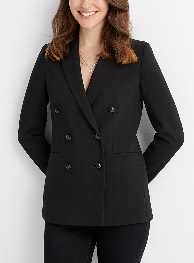 Crest-button double-breasted blazer