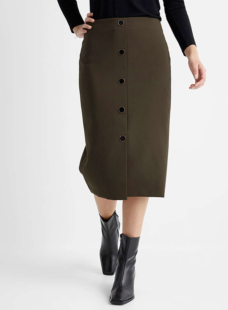 Contemporaine Khaki Lacquered buttons midi skirt for women