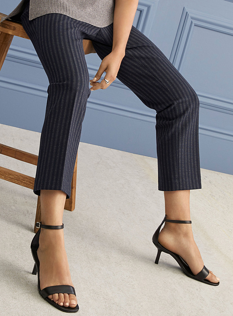 Contemporaine Patterned Blue Striped stretch knit pant for women