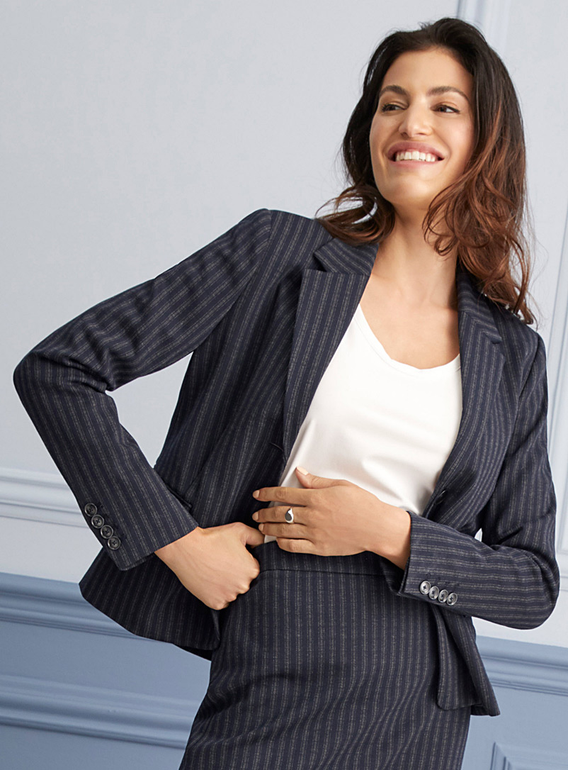 Striped stretch knit blazer