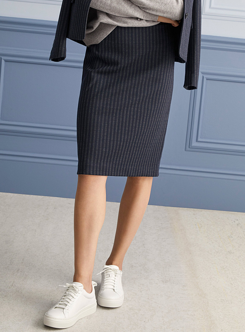 Contemporaine Patterned Blue Striped straight navy skirt for women