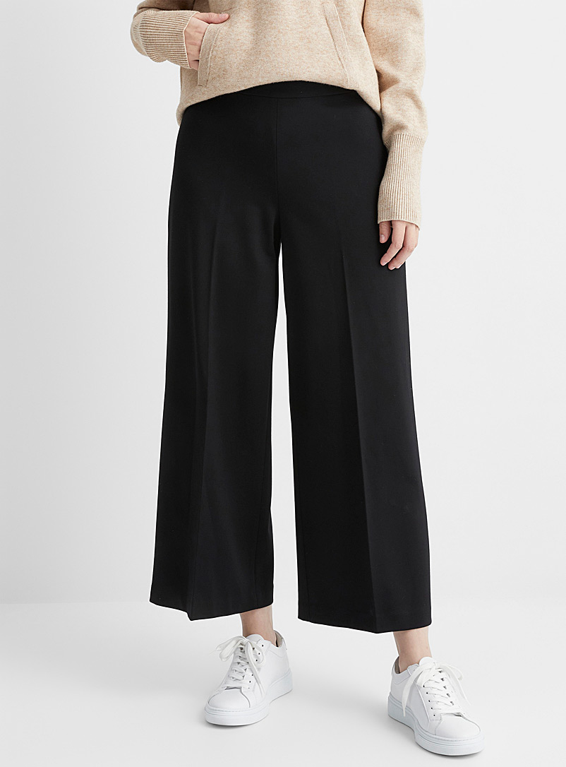 Contemporaine Black Stretch ponte cropped pant for women