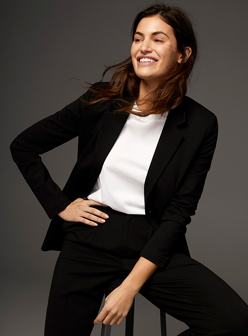 Contemporaine Black Stretch ponte blazer for women