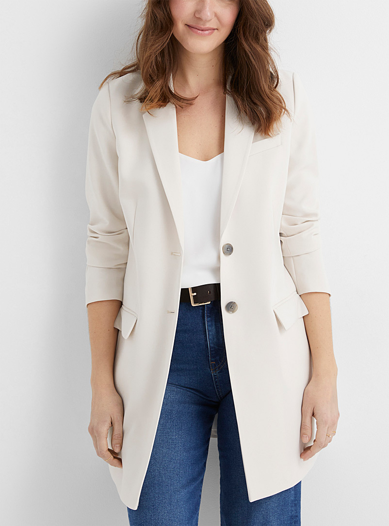 Contemporaine Pearly Long suiting crepe blazer for women