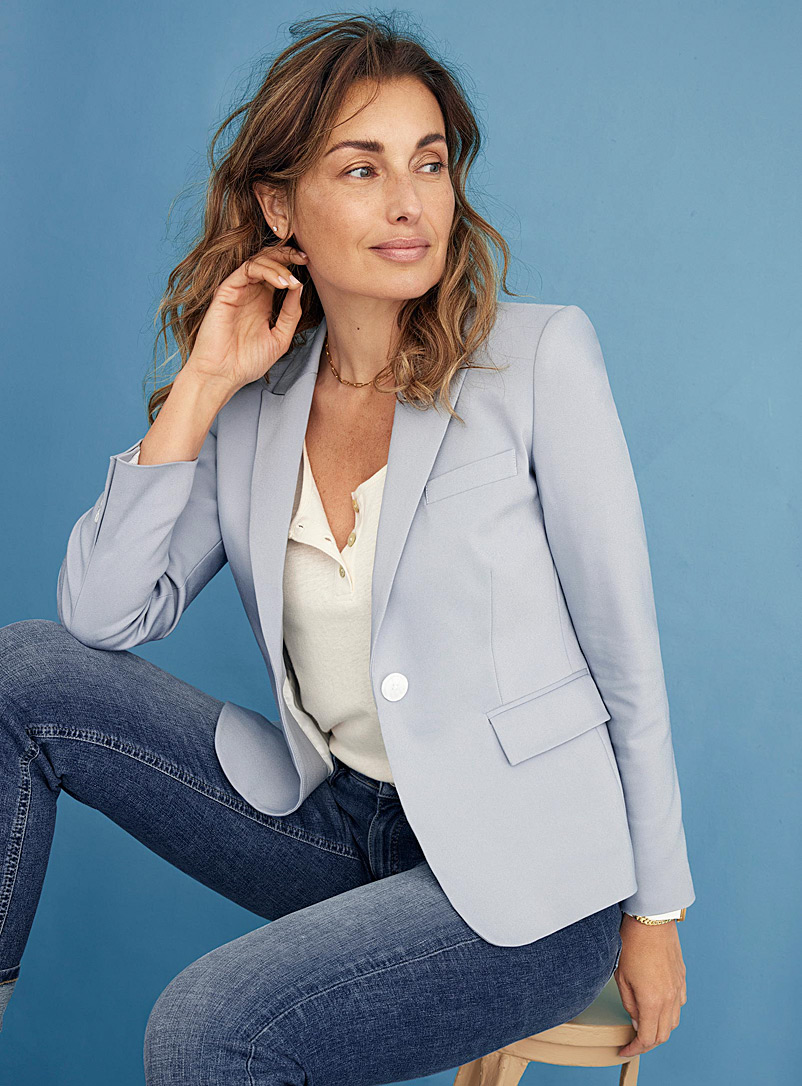 Contemporaine Baby Blue Structured single-button jacket for women