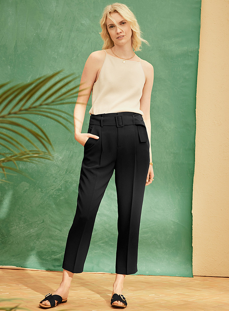 Contemporaine Black Fluid belted ankle pant for women