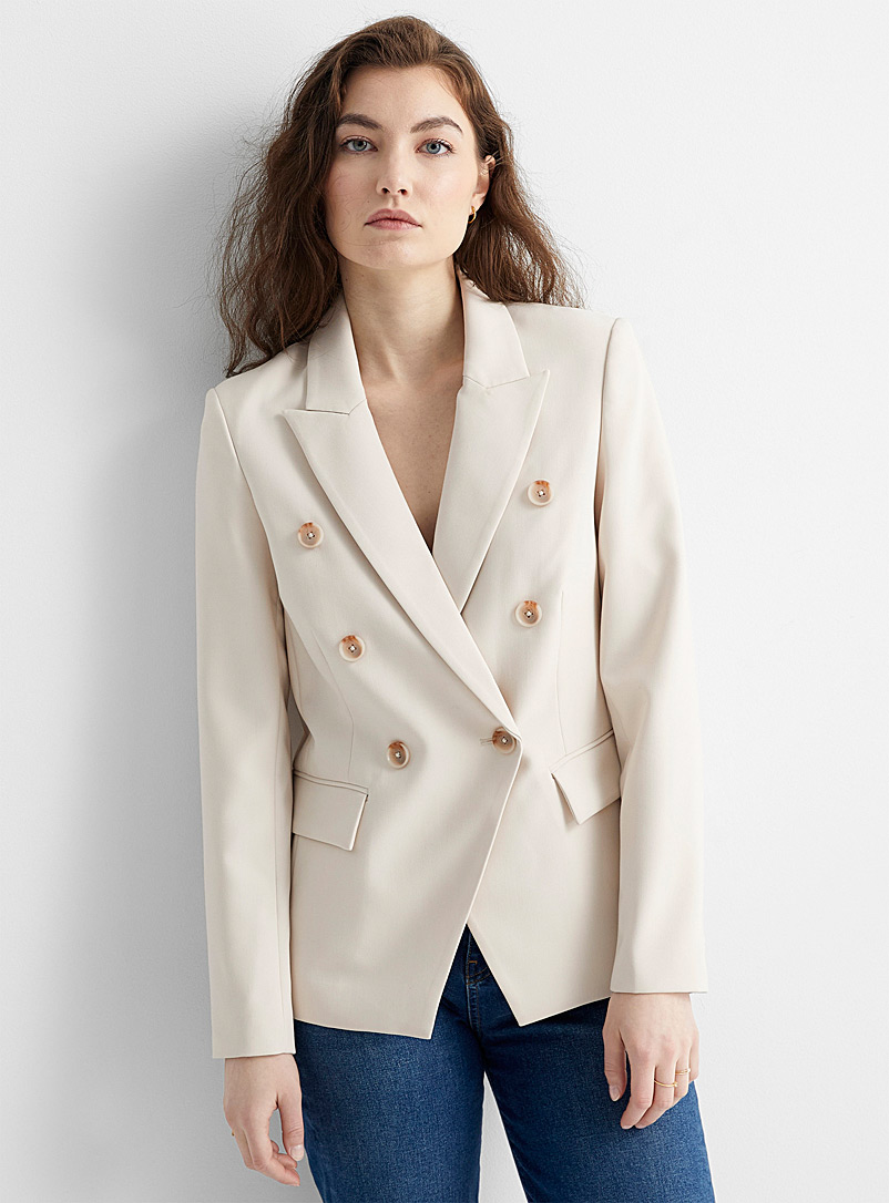 Contemporaine Sand Soft double-breasted blazer for women