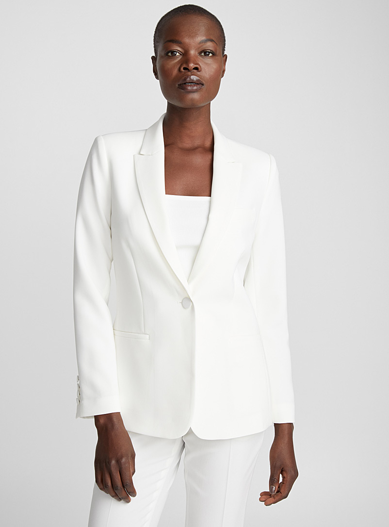 Techno crepe fitted jacket - Blazers - Ivory White