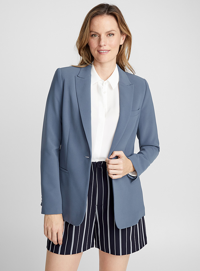 Techno crepe fitted jacket - Blazers - Grey
