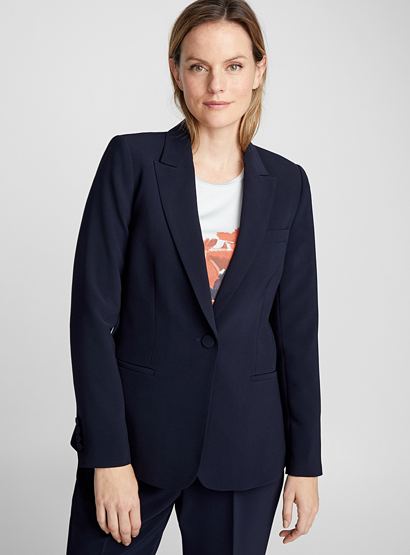 Techno crepe fitted jacket - Blazers - Marine Blue