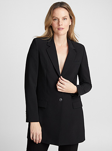 Long techno crepe jacket