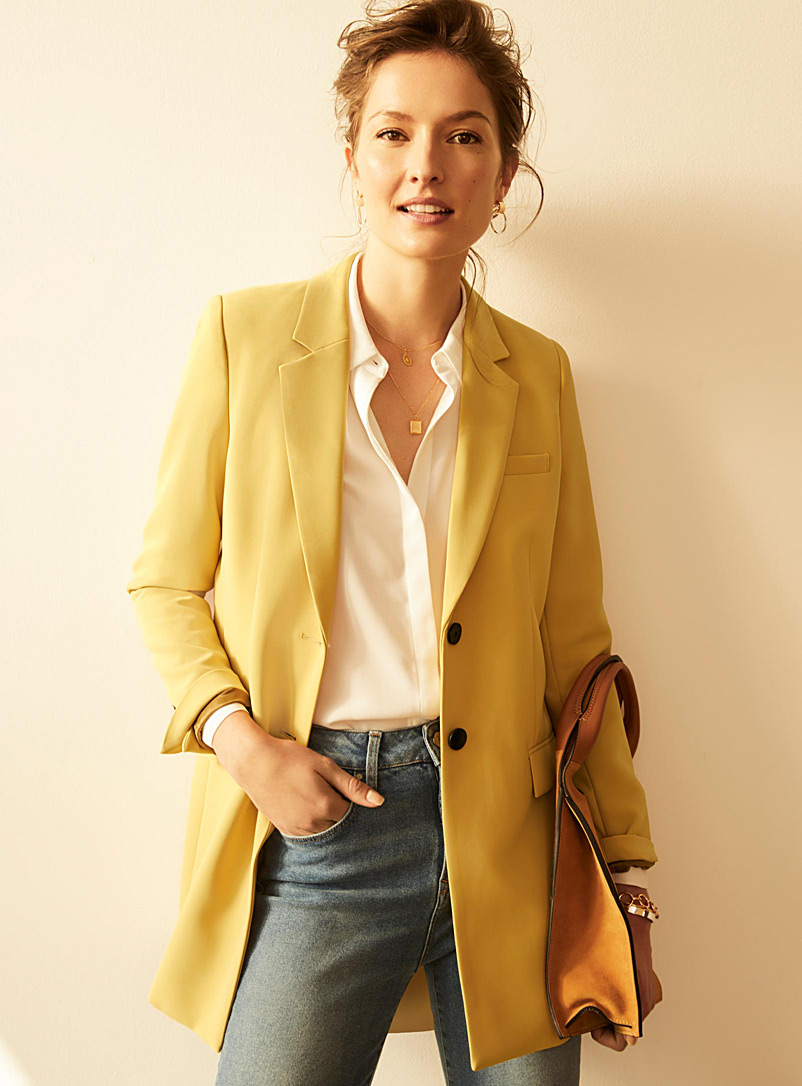 Long techno crepe jacket - Blazers - Medium Yellow